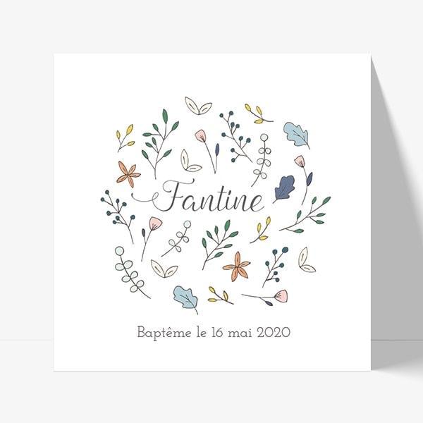 faire part de baptême avec dessin de petites fleurs en rond