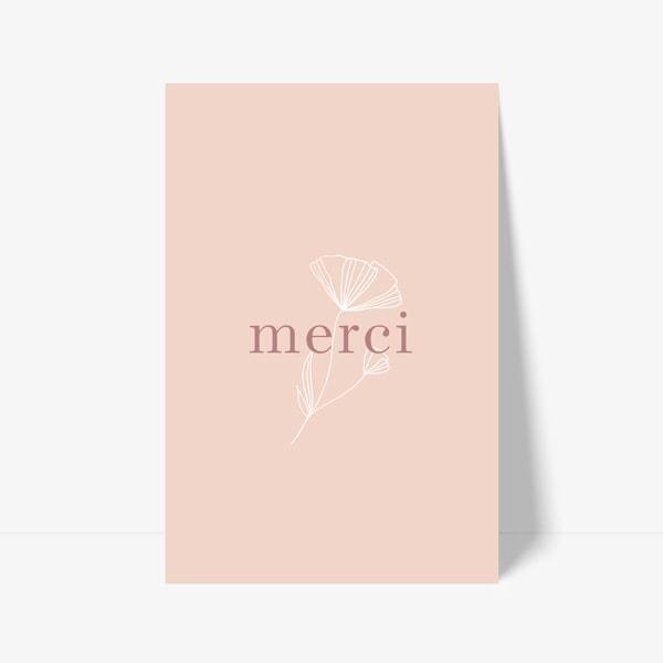 carton de remerciements moderne rose pâle