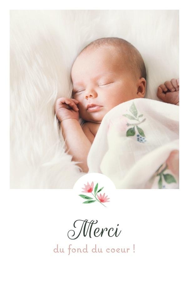 carton de remerciements avec fleur et photo