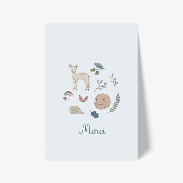 carte de remerciement animaux renard hérisson biche