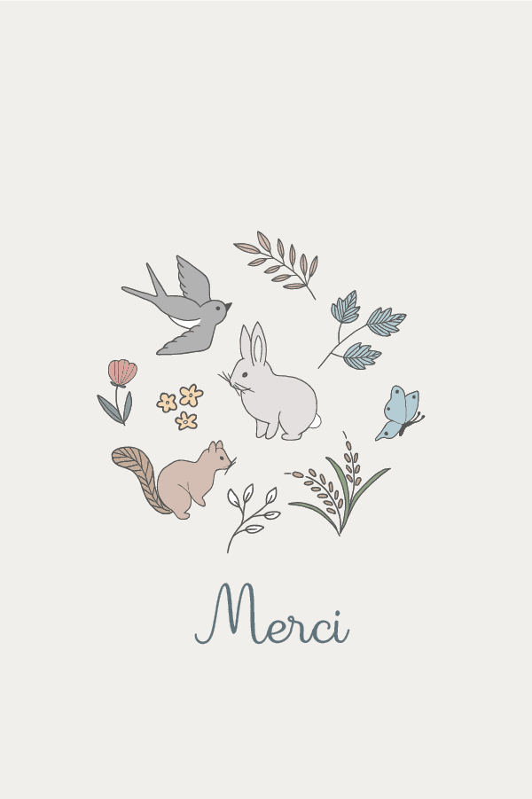 carte merci dessin printemps
