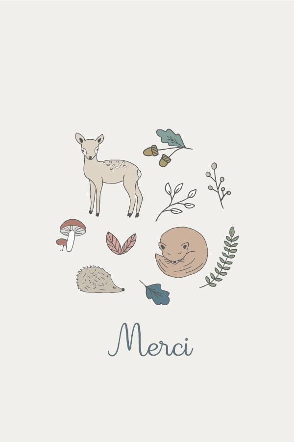 carte de remerciement joli dessin d'automne