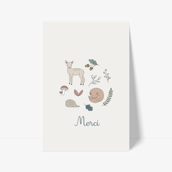 carte de remerciement automne dessin animaux renard