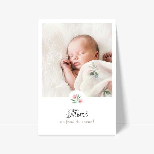 carte de remerciement de naissance fleur et photo