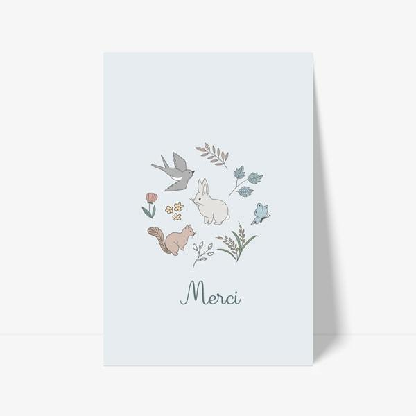 carte de remerciement animaux lapin oiseau écureuil