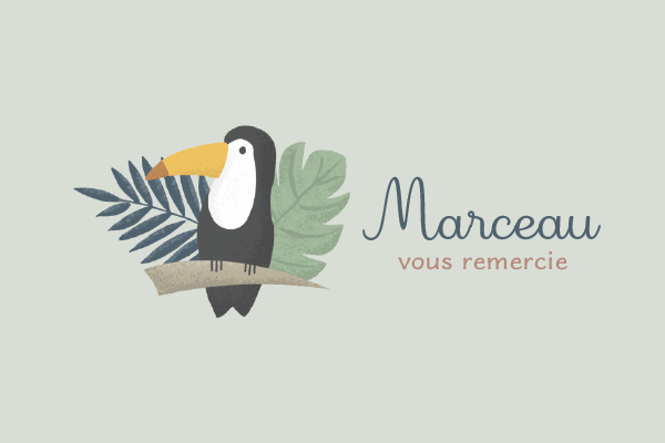 dessin tropical feuille et toucan