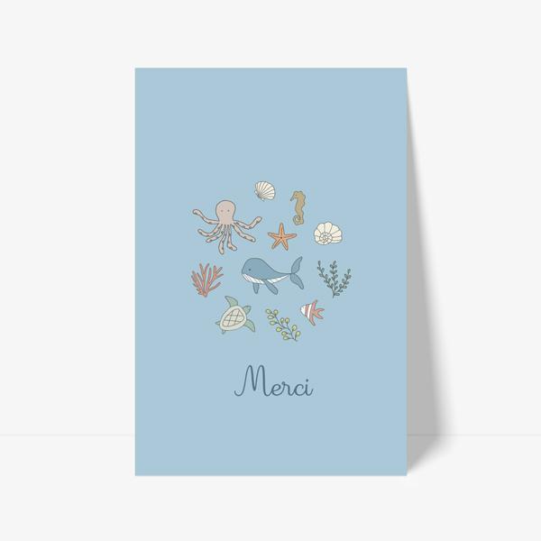 carte de remerciement avec animaux de la mer