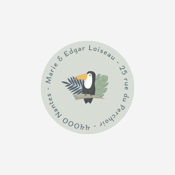 sticker pour enveloppes toucan