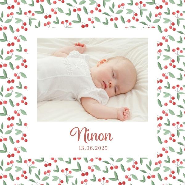 faire part à personnaliser avec une photo de bébé et des jolies cerises