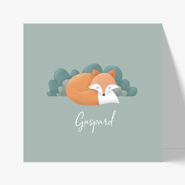 Illustration renard design pour annoncer la naissance d'un enfant