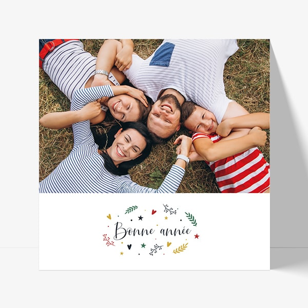 Carte de bonne année avec photo famille rouge vert et bleu