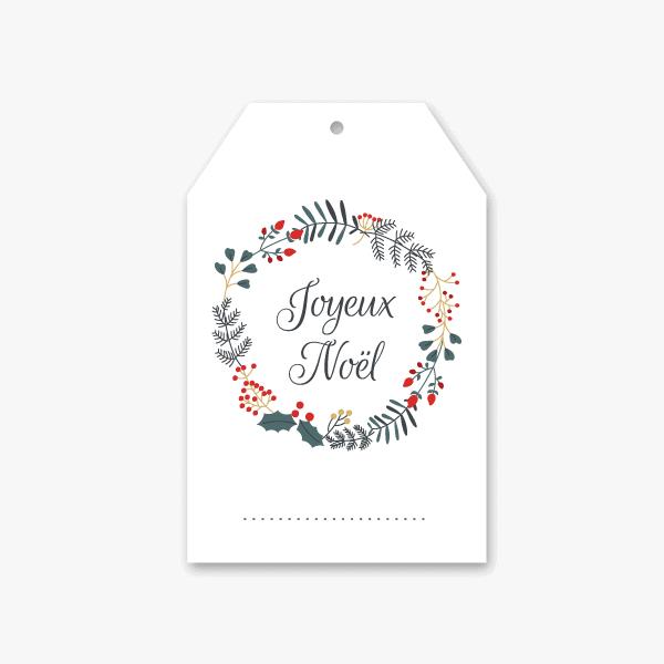 couronne de fêtes sur étiquette téléchargeable de cadeau de Noël