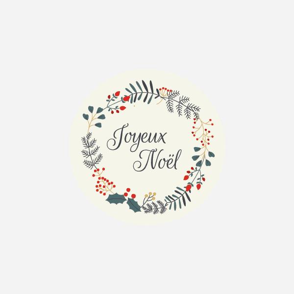sticker avec couronne festive pour souhaiter de belles fêtes