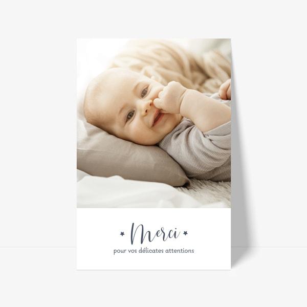 carte de remerciement naissance avec photo de bébé