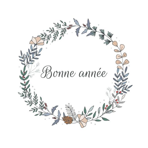 Carte de voeux personnalisable avec couronne festive de fleurs