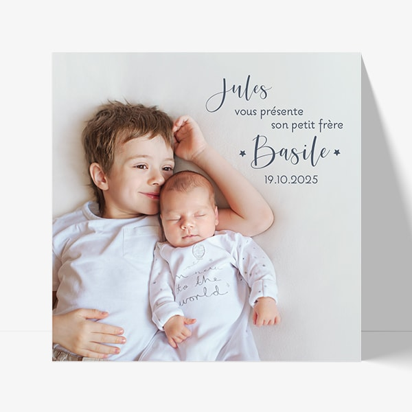 faire part naissance photo frère et soeur