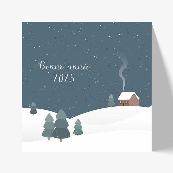 carte de voeux nouvelle année hiver et neige