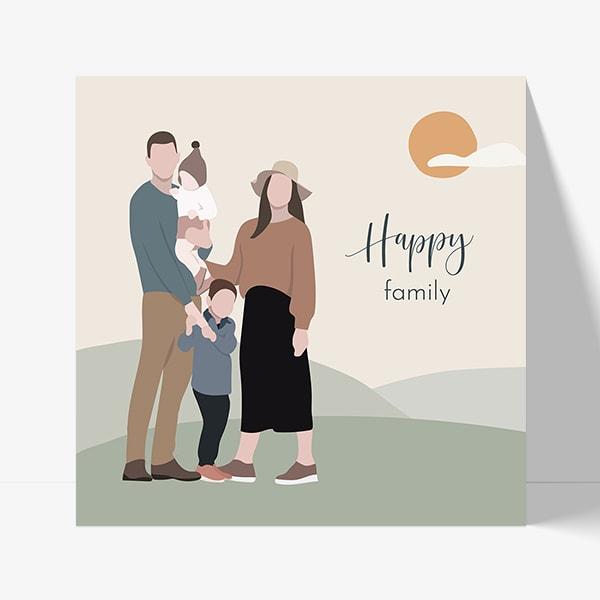 faire part naissnace dessin famille