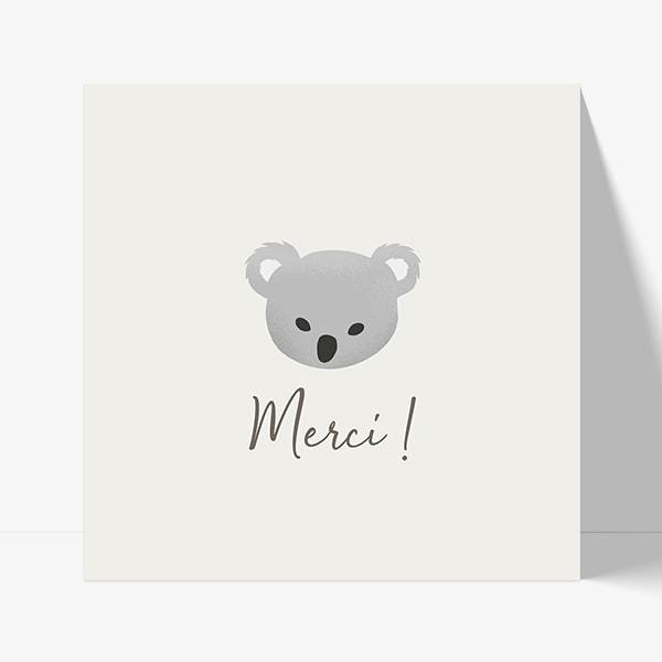 carte de remerciement koala moderne